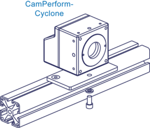 Cyclone camera mounted on customer specific mount for cooling